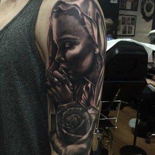 Virgin Mary Praying Tattoo