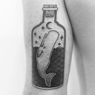 Whale in a Bottle Tattoo