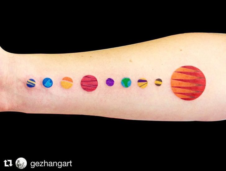minimalistic solar system tattoo by Ge Zhang