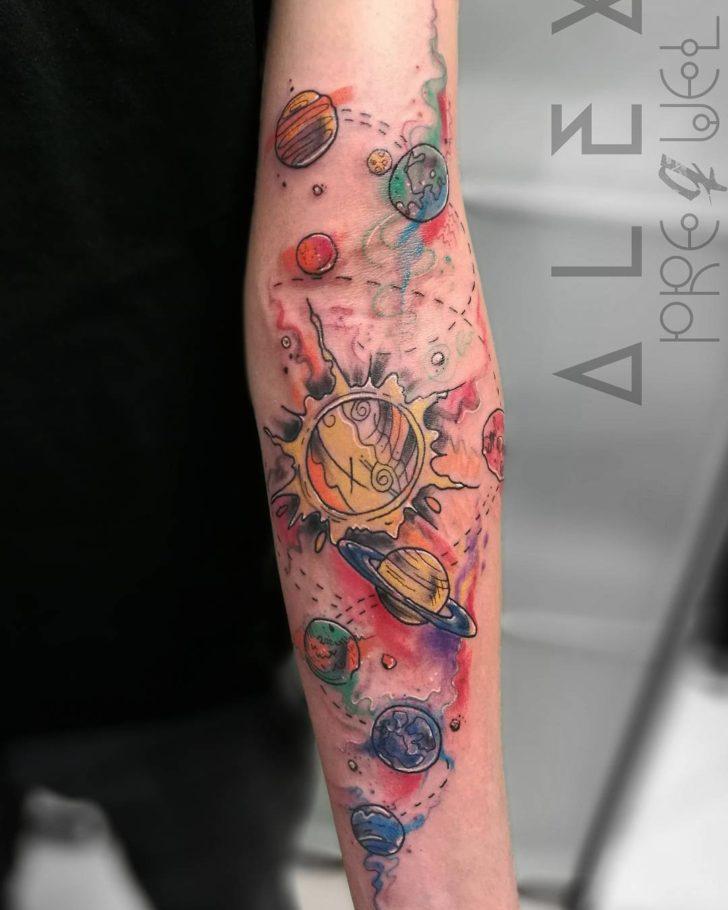 solar system tattoo by Alex Prequel