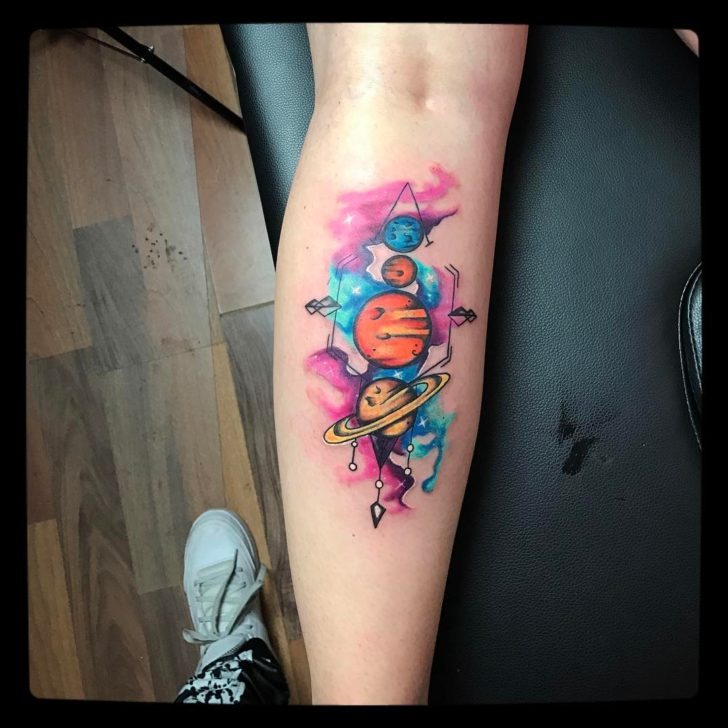 watercolor solar system tattoo by Alexander Lieder