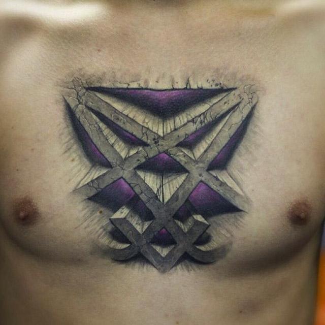 Him heartagram tattoo on chest