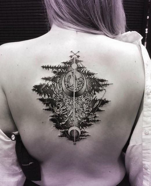 back flower tattoo