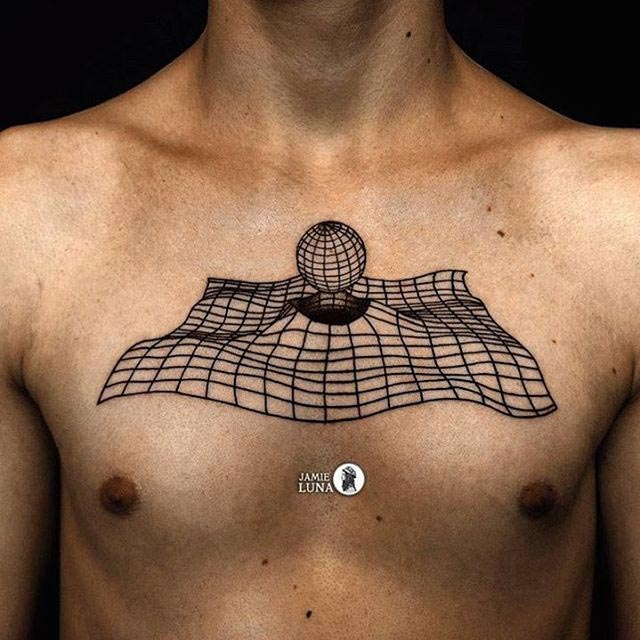 pure 3D tattoo on chest