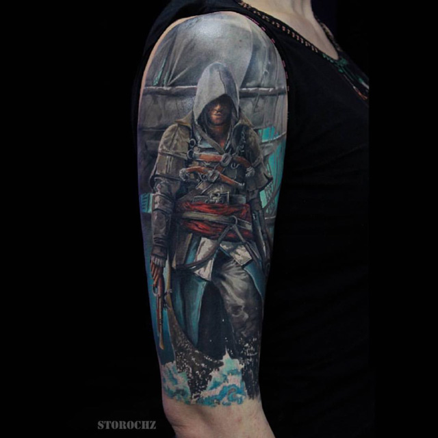 realistic shoulder tattoo Assassin's Creed