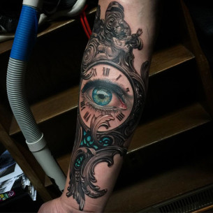 Baroque Clock Tattoo Eye