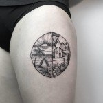 Beach or Mountain Tattoo on Thigh