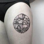 Beach or Mountain Tattoo on Thigh