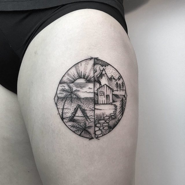 circle landscapes tattoo on thigh