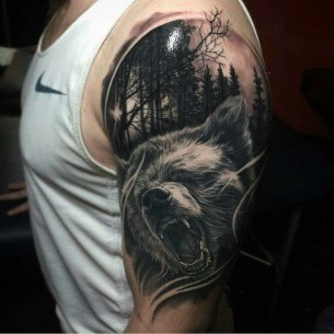 Bear Shoulder Tattoo