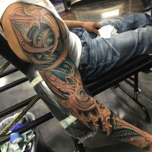 Biomechanical Sleeve Tattoo