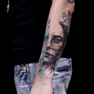 Blue Trash Polka Portrait Tattoo