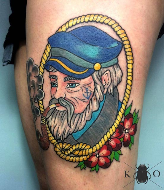 nautical tattoo captain