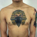 pharaon tattoo on chest