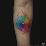circle tattoo with chromatic colors