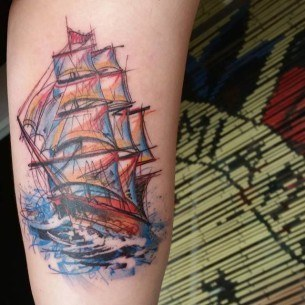 Colorful Ship Tattoo