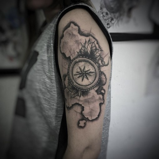 shoulder map tattoo