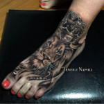 Crown Lion Tattoo on Foot