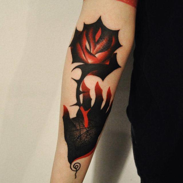 mapple rose tattoo dark