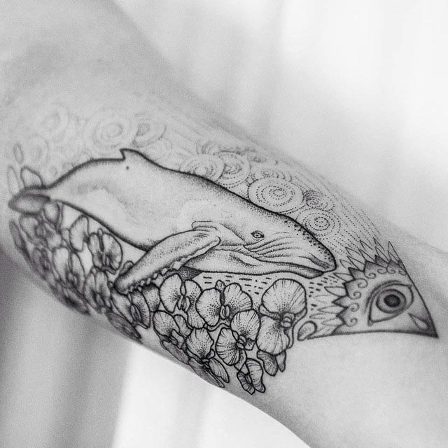 flowers tattoo and whale