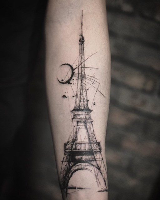 arm eiffel tower tattoo