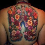 Flower Lungs Tattoo on Back