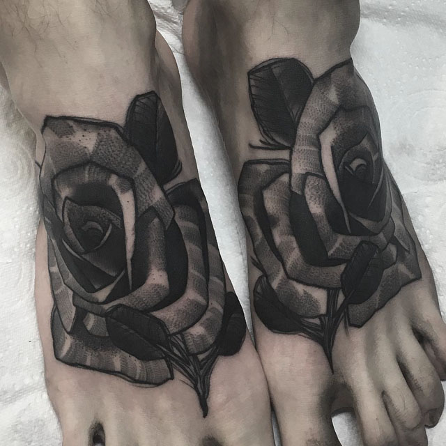 roses tattoo on feet