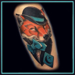 fox tattoo in hat