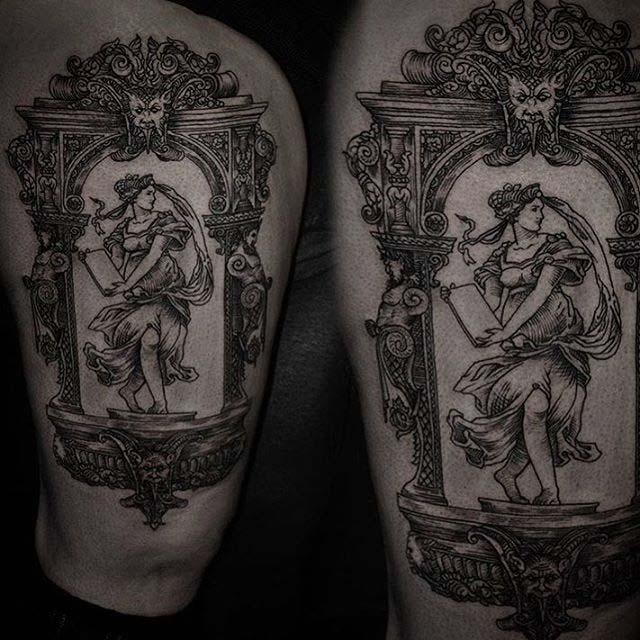 baroque frame tattoo girl