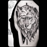 Half Wolf Lion Tattoo Shoulder