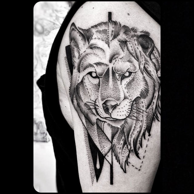 Wolf and Lion Heads tattoo