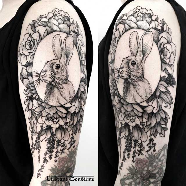 shoulder tattoo hare in frame