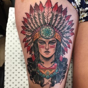 Indian Woman Tattoo on Thigh