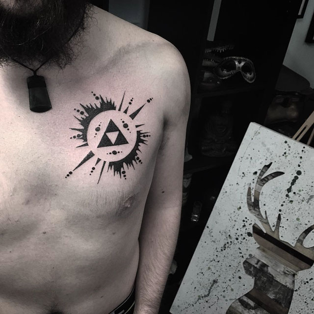 chest tattoo blackwork