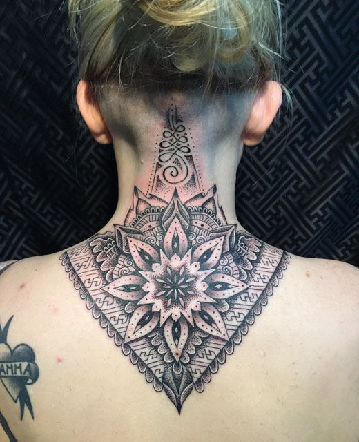 mandala back neck tattoo