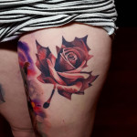 Maple Leaf-Shaped Rose Tattoo