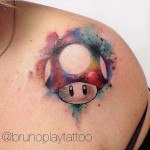 Mario Shroom Tattoo Watercolor
