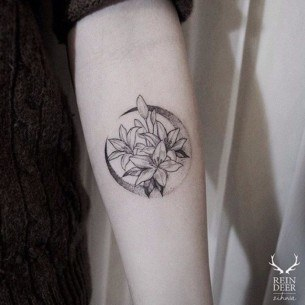 Moon Flower Tattoo