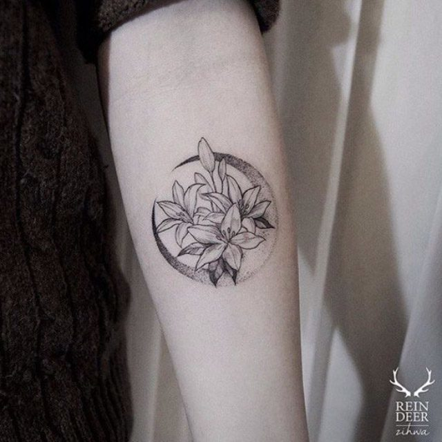 flowers tattoo moon