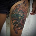 native indian tattoo skull