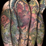 sleeve tattoo owl and lantern
