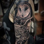 realisitc black and grey owl tattoo on shoulder