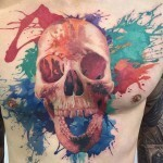 Paint Splash Skull Tattoo