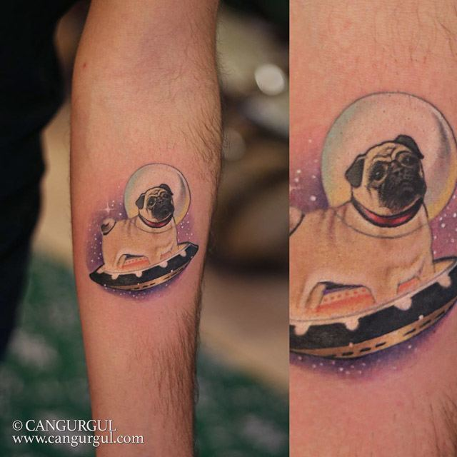 space pug tattoo new school