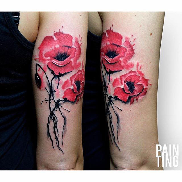 red poppy tattoo flowers watercolor