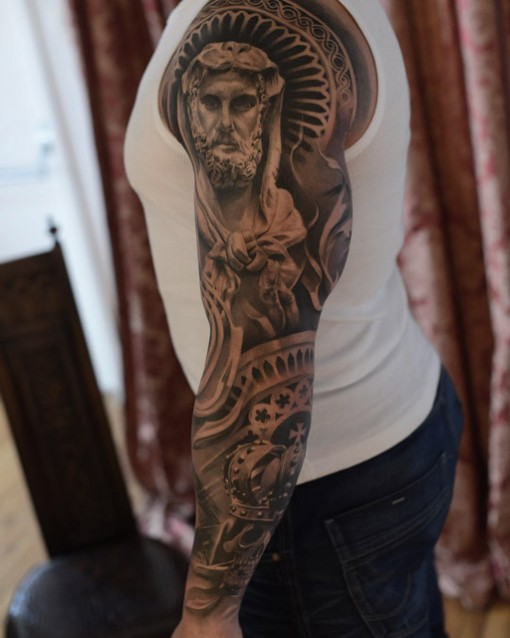 religious tattoo sleeve best tattoo ideas gallery. Black Bedroom Furniture Sets. Home Design Ideas
