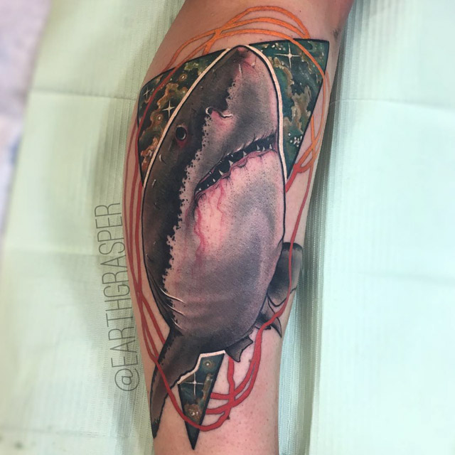 space shark tattoo