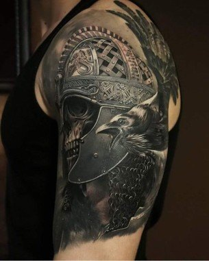 Skull With Helmet Tattoo