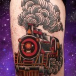 neo-traditional tattoo steam locomotive