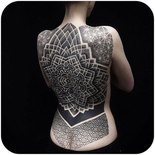 dotwork full back tattoo on girl
